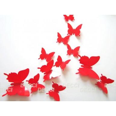 Наклейка на стену Бабочки красный 3D