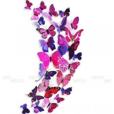 Наклейка на стену Бабочки лиловый 3D