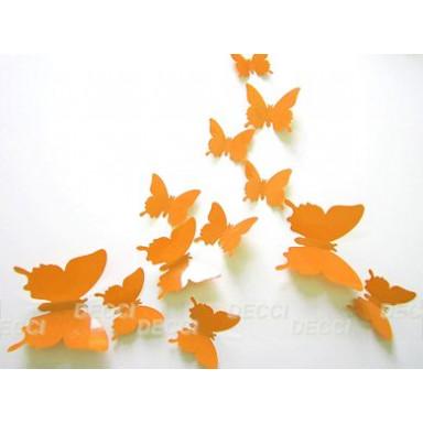 Наклейка на стену Бабочки оранжевый 3D
