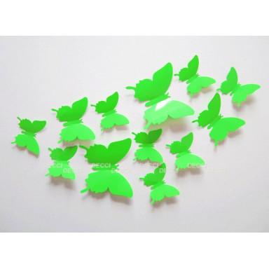 Наклейки на стену Бабочки светло-зеленый 3D