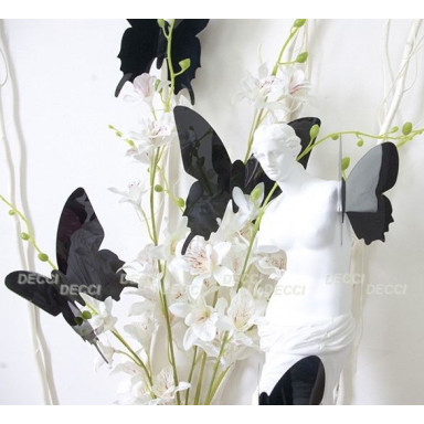 Наклейки на стену Бабочки черный 3D