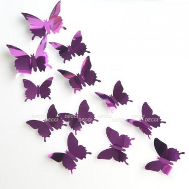 Наклейки на стену Бабочки фиолетовый 3D