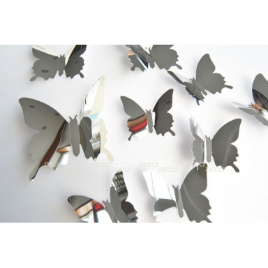 Наклейки на стену Бабочки серебристый  3D