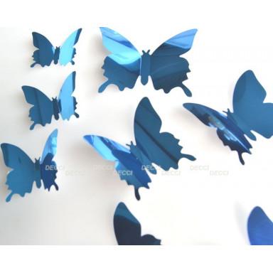 Наклейки на стену Бабочки синий  3D