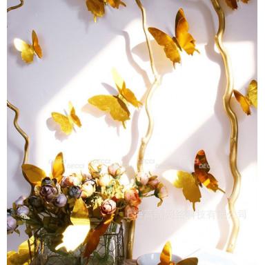 Наклейки на стену Бабочки золото 3D