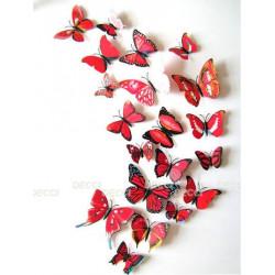 Бабочки с магнитом 3D, красный
