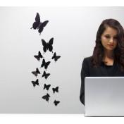 Черные бабочки 3D мини