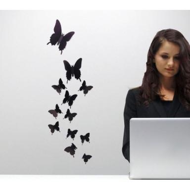 Наклейки на стену Черные бабочки 3D мини
