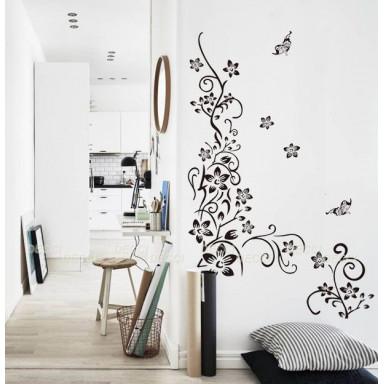 Наклейка на стену Черные цветы