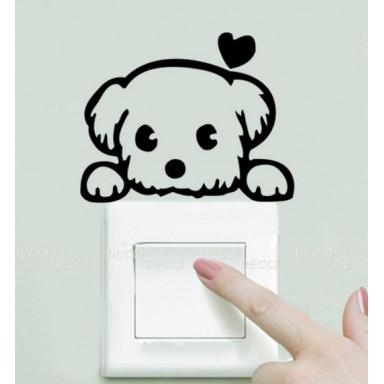 Наклейка на стену у выключателя Болонка