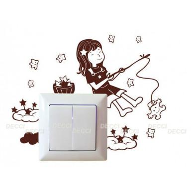 Наклейка на стену Девочка и звезды