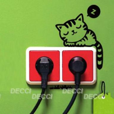 Наклейка на стену возле выключателя Спящий котик