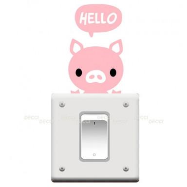 Наклейка на стену возле выключателя Хрюшка hello