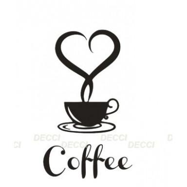 Наклейка на стену у выключателя Кофе