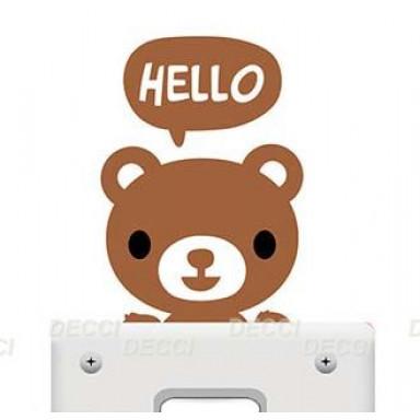 Наклейка на стену возле выключателя Медвежонок hello