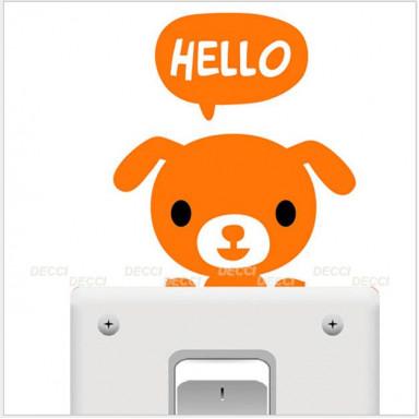 Наклейка на стену возле выключателя Собачка hello