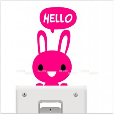 виниловая наклейка на выключатель Зайчик hello