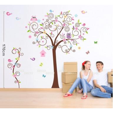 Наклейка на стену Деревце с совушками