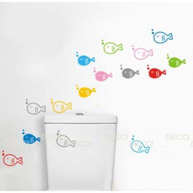 Наклейка на стену Двойные рыбки, серый
