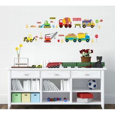 Наклейка на стену Строительные машины