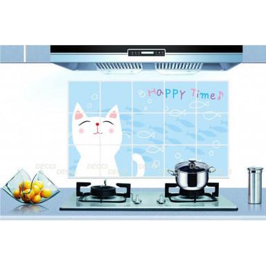 Наклейка на стену Фартук Белая кошка