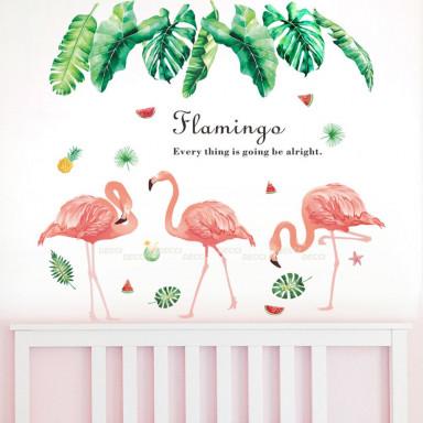 Наклейка на стену Фламинго и листья монстеры