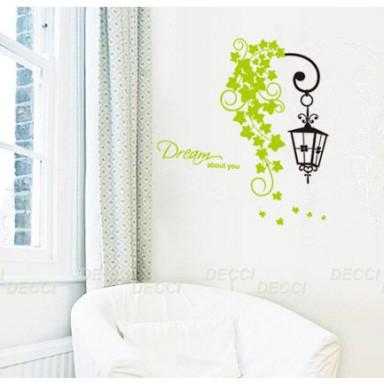 Наклейка на стену Фонарик с зеленью