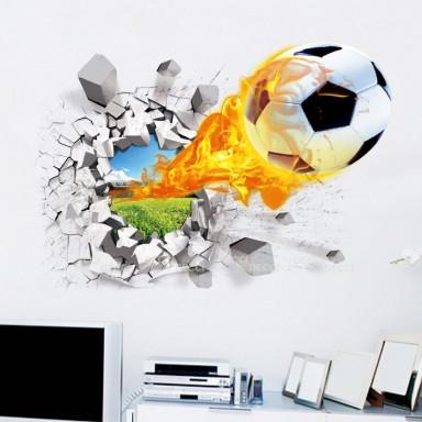 Наклейка на стену Футбольный мяч, 3d эффект