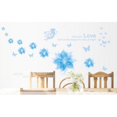 Наклейка на стену Голубой полет