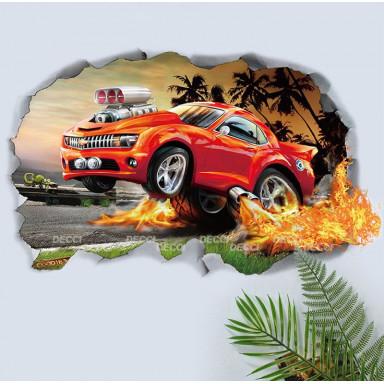 Наклейка на стену Гонка с пальмами, 3d эффект