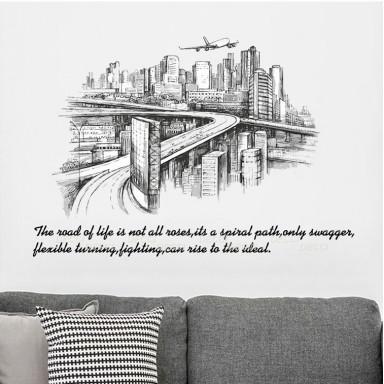 Наклейка на стену Город будущего