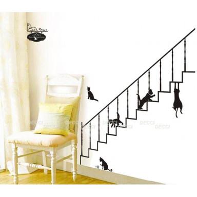 Наклейка на стену Кошки на лестнице