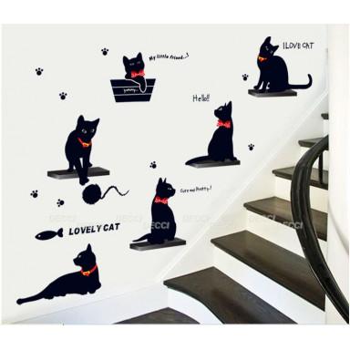 Наклейка на стену Кошки с бантиками