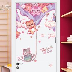 Котики вперёд! наклейка на дверь с 3d эффектом