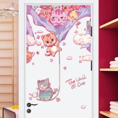 наклейка на стену Котики вперёд!  наклейка на дверь с 3d эффектом