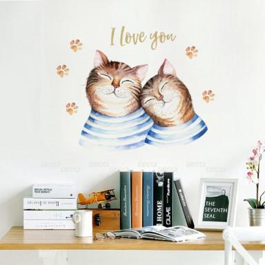 Наклейка на стену Коты в тельняшках