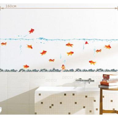 Наклейка на стену Красные рыбки