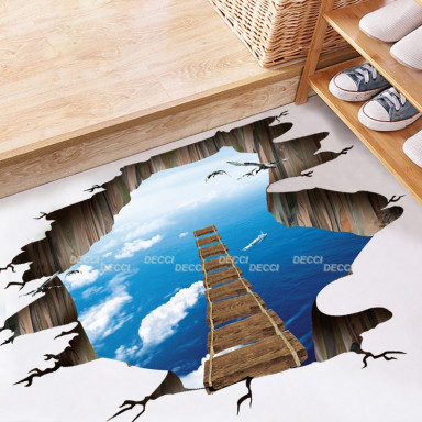 Наклейка на стену Лестница в небо 3d эффект