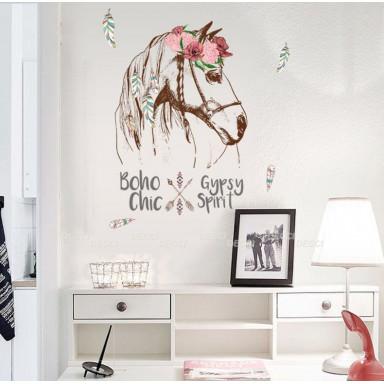 Наклейка на стену Лошадь бохо