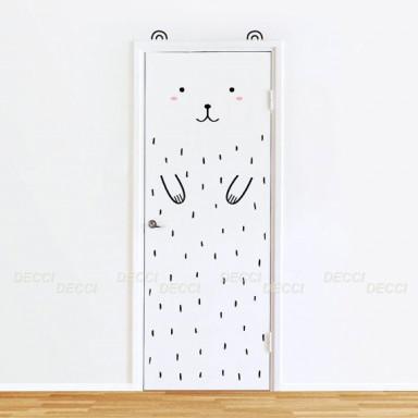 Наклейка на двери, на шкаф Мишка на дверь