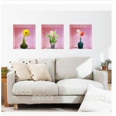 Наклейка на стену Ниши Цветы с эффектом 3D