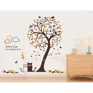 Наклейка на стену Осенние коты