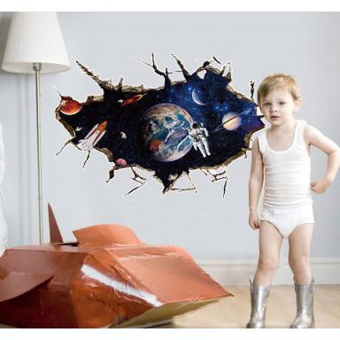 наклейка на стену Над Землей, 3d эффект