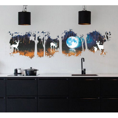 Наклейка на стену Ночное озеро 3d эффект