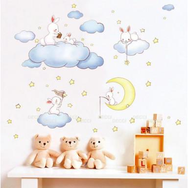 Наклейка на стену Облачка и звезды