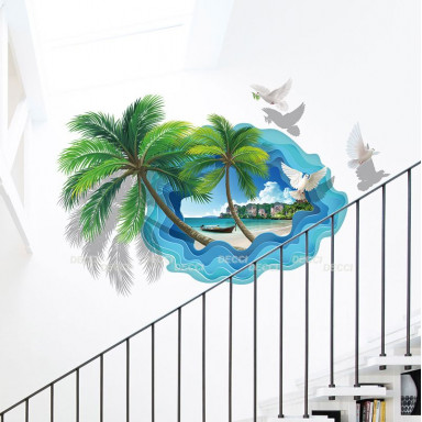 Наклейка на стену Пальмы 3d эффект