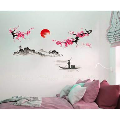 Наклейка на стену Пейзаж с сакурой