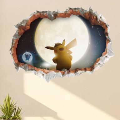 Наклейка на стену Пикачу, 3d эффект