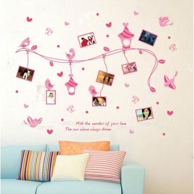 Наклейка на стену Птицы сердечки рамки