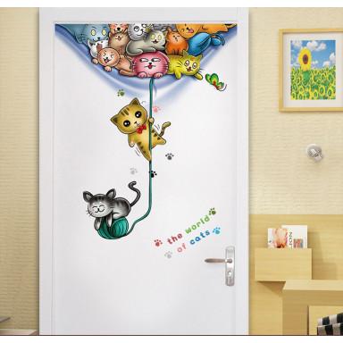 Разноцветные котики, наклейка на дверь с 3d эффектом